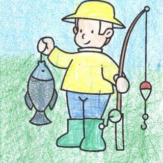 Сергей Х., 7 лет. Папа рыбак